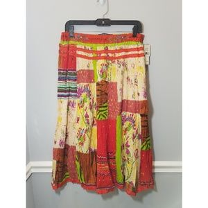 NWT Multi-Patterned Chaudry Sports Boho Maxi Skirt